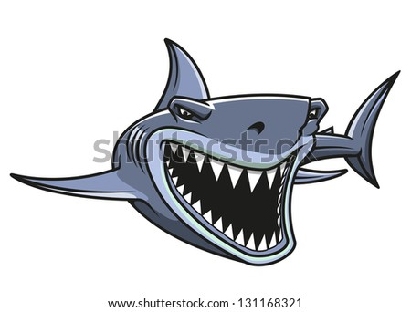 Angry danger shark in cartoon style for mascot design. Jpeg (bitmap) version also available in gallery - stock vector