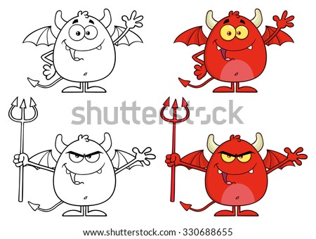 Angry Devil Cartoon Character Holding A Pitchfork. Vector Collection Set - stock vector