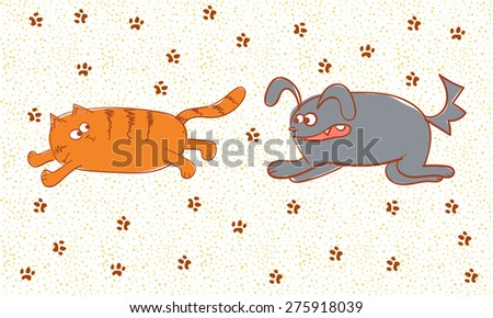 Angry dog chasing a cat. Vector doodle illustration.