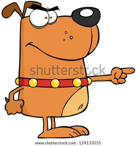 Angry Dog Finger Pointing - stock vector