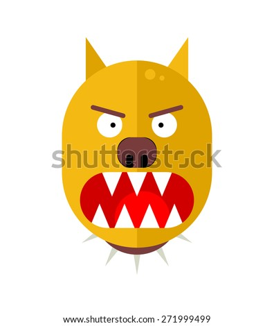 Angry dog. Flat style vector illustration - stock vector