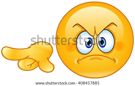 Angry emoticon pointing out or away - stock vector