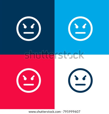 angry emoticon square face four color stock vector 795999607 rh shutterstock com Red and Blue C Logo Name Red and Blue Logos with Names