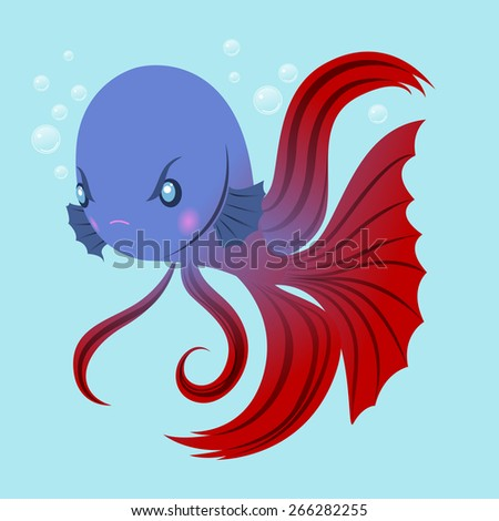 Angry fighting fish - stock vector