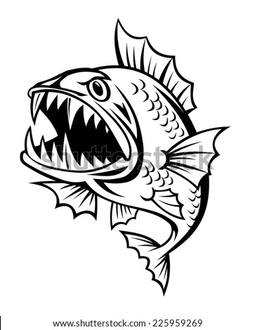 Angry fish in cartoon style isolated on white background - stock vector