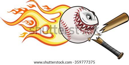 Angry flaming screaming baseball. Cresh Bat - stock vector