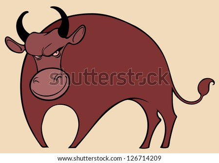 Angry funny bull - stock vector