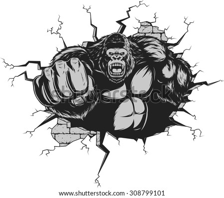 Angry gorilla - stock vector