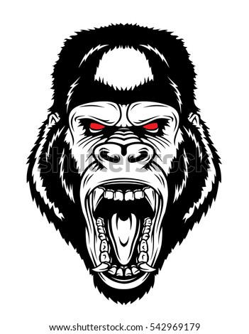 angry gorilla head drawing - photo #3