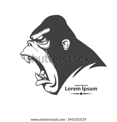 angry gorilla head, profile view, logo, mascot, emblem for sport team, simple illustration, monster screaming - stock vector