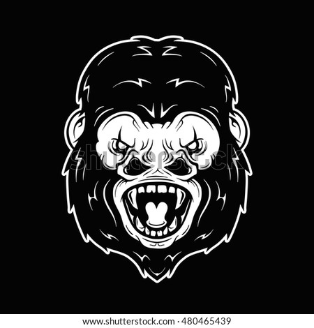 Angry gorilla head vector illustration. Isolated on white background