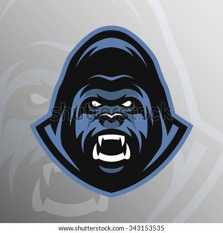 Angry Gorilla logo, symbol. - stock vector