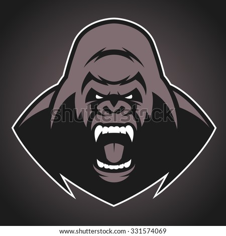 Angry gorilla symbol - stock vector