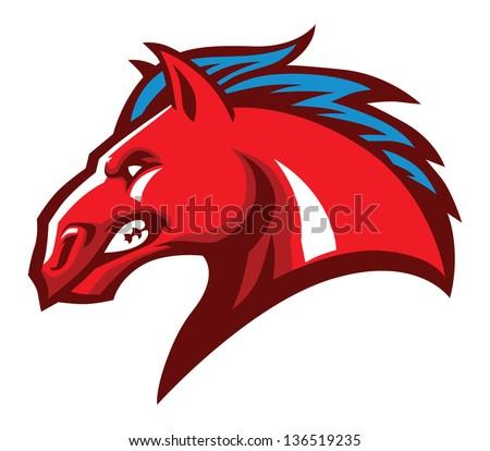 angry horse head mascot - stock vector