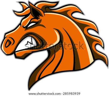 angry horse head mascot, vector illustration