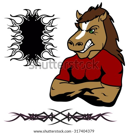 angry horse muscle cartoon set in vector fromat very easy to edit - stock vector