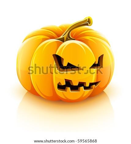 angry Jack-O-Lantern halloween pumpkin - stock vector