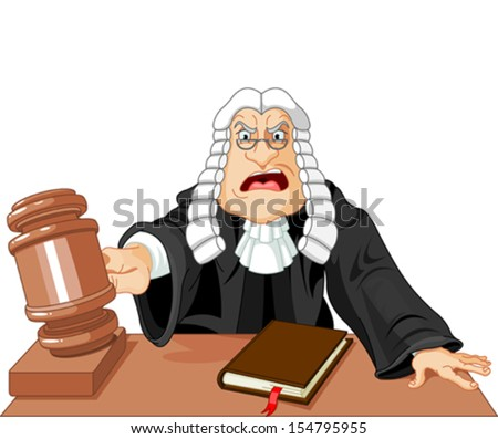 Angry judge with gavel makes verdict for law - stock vector