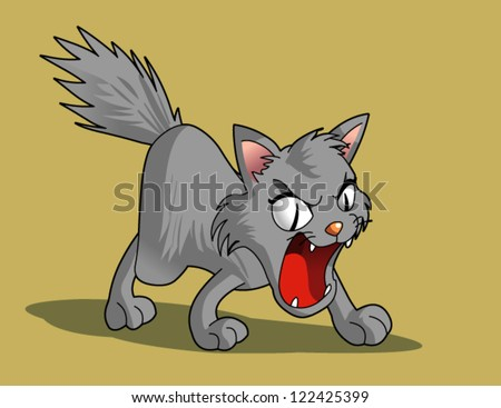 angry kitty cat - stock vector