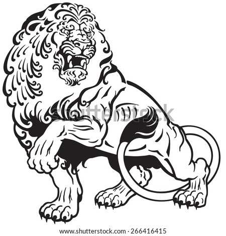 Angry Lion Black And White Tattoo Illustration