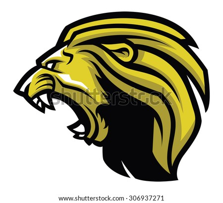 Angry lion head mascot - stock vector