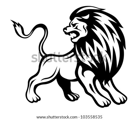 Angry lion in heraldic style. Vector illustration - stock vector