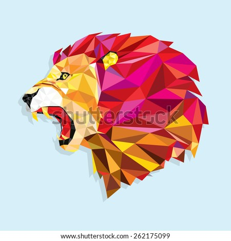 Angry lion with geometric pattern- Vector illustration - stock vector