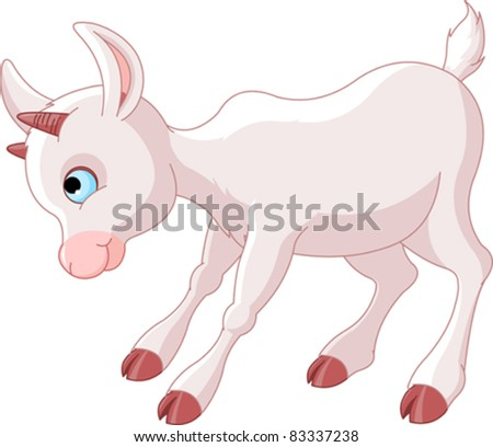 Angry Little Baby Goat - stock vector