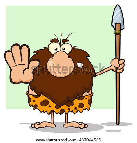 Angry Male Caveman Hunter Cartoon Mascot Character Gesturing And Standing With A Spear Vector Illustration Isolated On White Background - stock vector