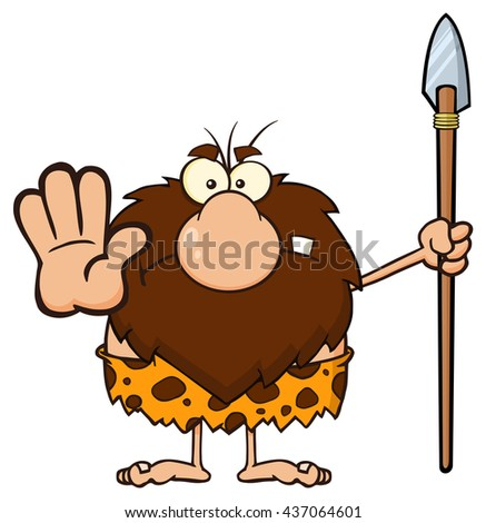 Angry Male Caveman Warrior Cartoon Mascot Character Gesturing And Standing With A Spear. Vector Illustration Isolated On White Background - stock vector