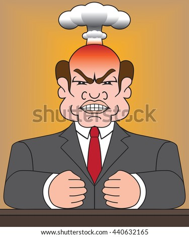 Angry man in business suit is blowing his top - stock vector