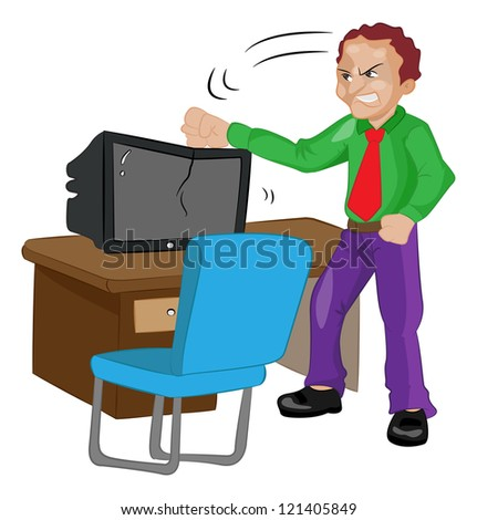Angry Man Pounding on a TV or computer, vector illustration - stock vector