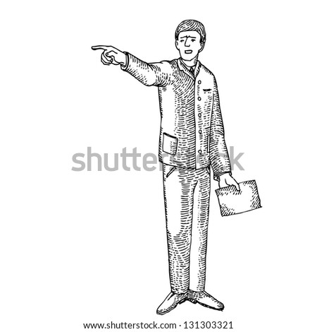 Angry man with a paper - stock vector