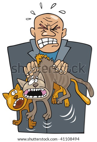 angry man with cats