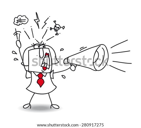 Angry megaphone woman. A woman screams in a megaphone. She's very angry ! - stock vector