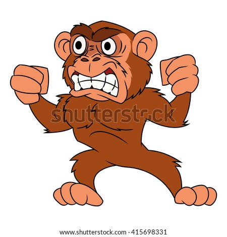 Angry monkey illustration 2 - stock vector