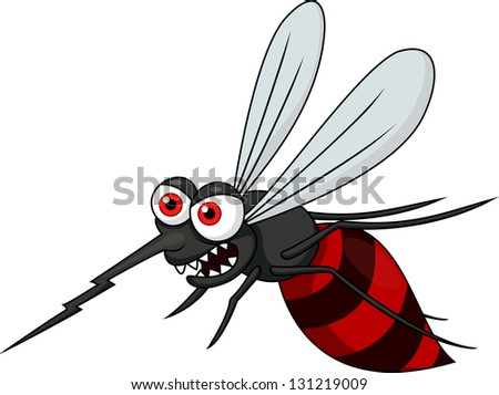 Angry mosquito cartoon - stock vector