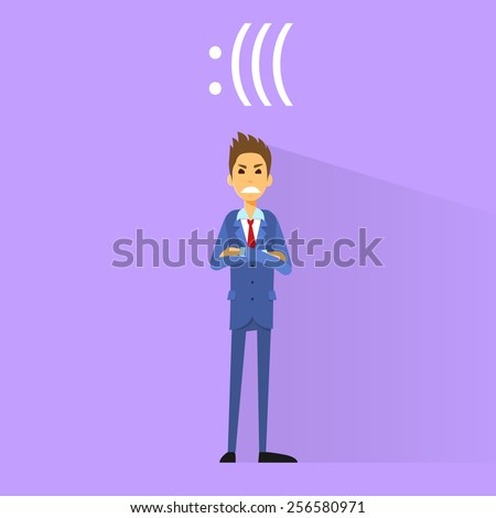 angry negative emotion business man flat design vector illustration - stock vector