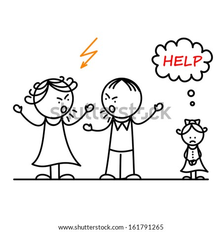 Angry parents and sad girl - stock vector