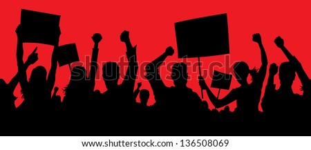 Angry protesters - stock vector