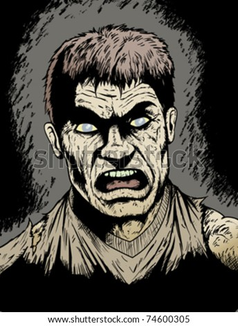 Angry, rotting Zombie hungry for human flesh - stock vector