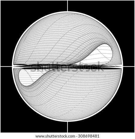 Angry Scarface Smiley Sign Wireframe Vector 04 - stock vector