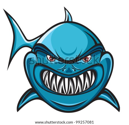 Angry shark - stock vector