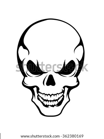 Angry skull symbol, vector - stock vector