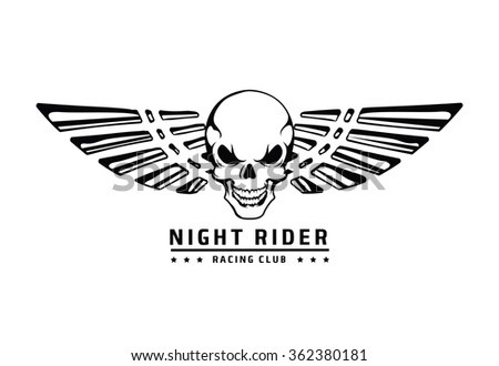 Angry skull with wings vector emblem - stock vector