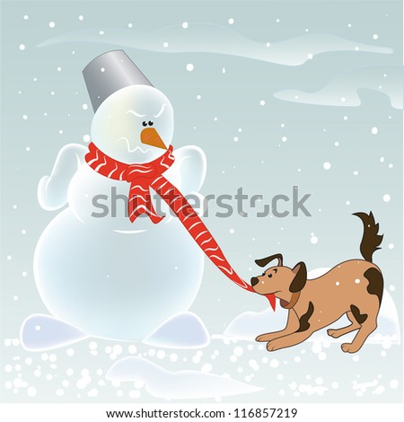 Angry snowman and puppy playing with his scarf