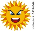 angry sun. isolated on withe background - stock vector
