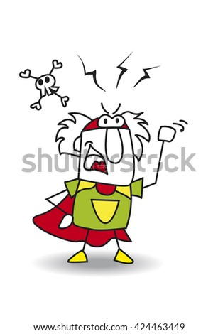 Angry Super Grandfather. This Grandfather superhero is angry.  - stock vector