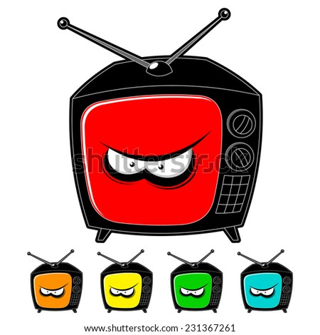 angry televisor on a white background - stock vector