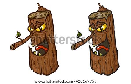 angry tree stump cartoon illustration. Vector illustration. Tree stump vector. Tree stump cartoon. Tree stump set. Angry tree. Halloween illustration. Angry tree cartoon. Character tree. Character art - stock vector